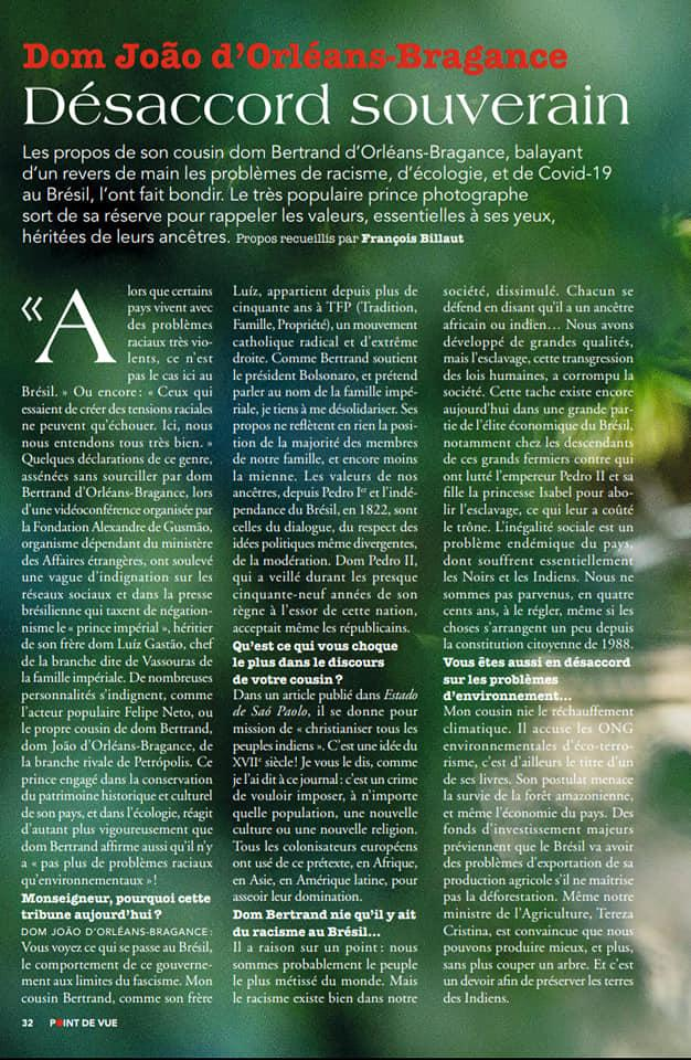 Extrait de l'interview du prince Joao . magazine Point de Vue