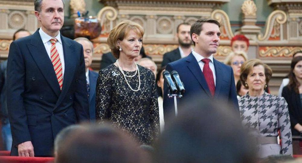 Le prince Radu, la princesse Margereta et le prince Nicolas de Roumanie