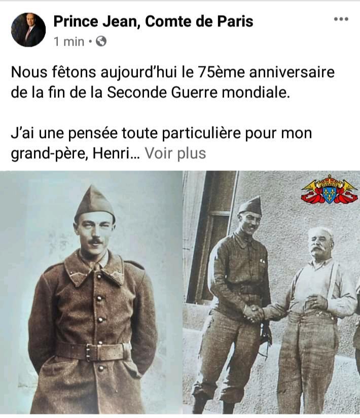 Communiqué du comte de Paris, Jean d'Orléans, 8 mai 1945