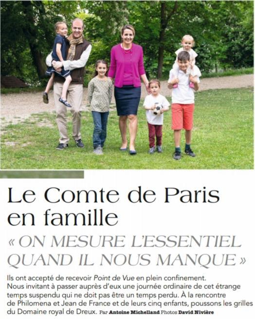 Page de garde du reportage sur le comte de Paris; magazine Point de vue