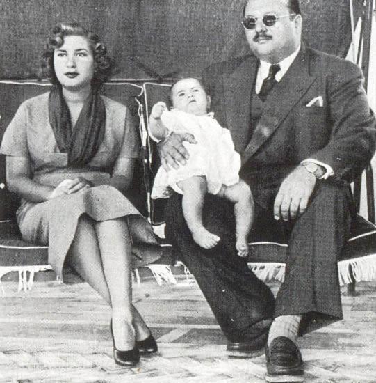 La reine Narrimane, le roi Fouad II et le roi Farouk I