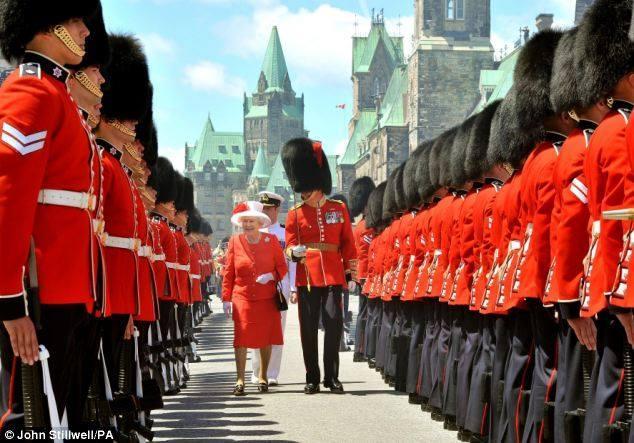 Revue des gardes par Elizabeth II
