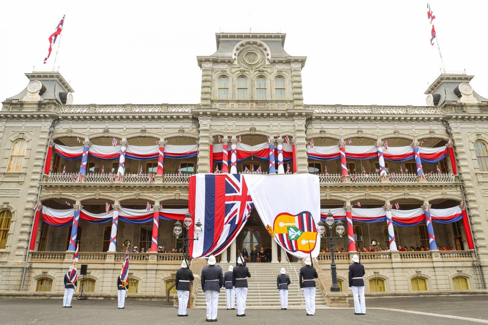 Défilé de la garde royale au Palais de Iolani