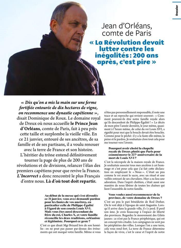 Interview au magazine L'incorrect /Page Prince Jean, comte de Paris