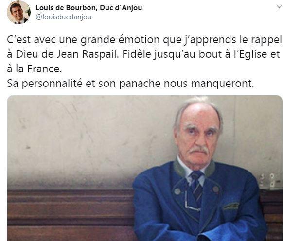 Le duc d'Anjou rend hommage à Jean Raspail