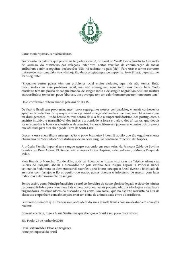 Communique de dom bertrand d orleans bragance 1