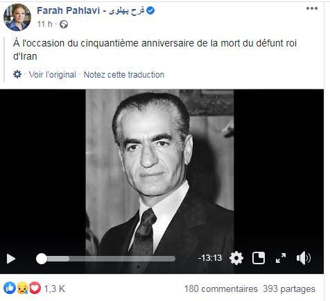 Farah diba rend hommage au shah