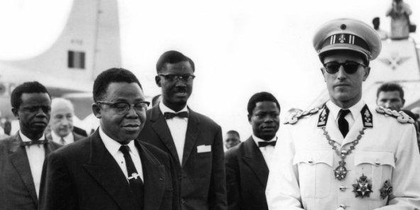 Le president kazavubu le premier ministre lumumba et le roi baudouin ier en 1960