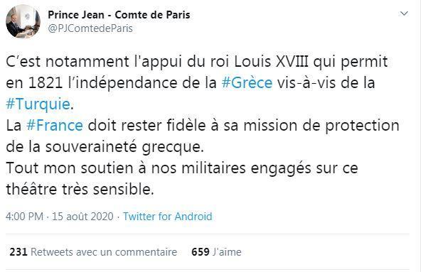 Tweet du comte de Paris sur les tensions greco-turques