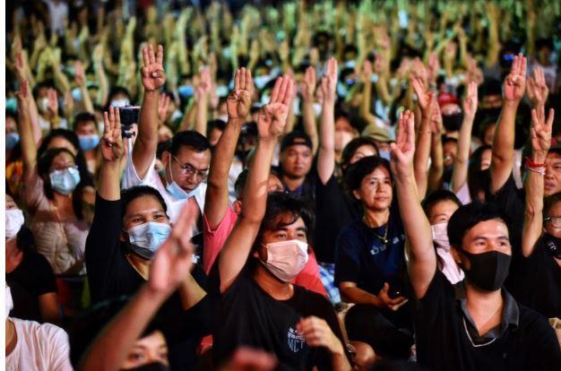 Manifestants pro democratie getty