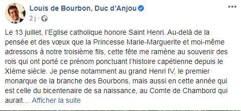 Page facebook du prince louis de bourbon