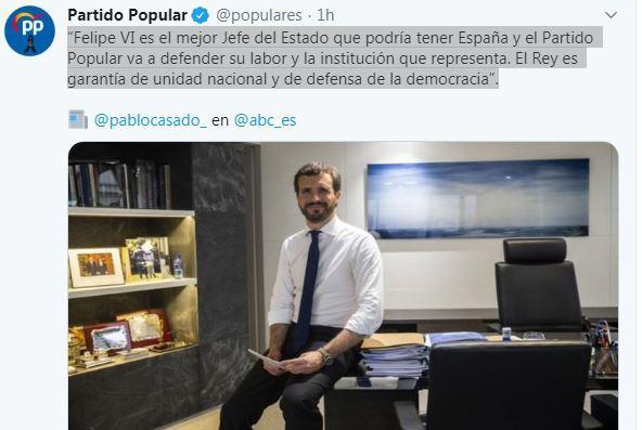 Le leader du Parti Populaire apporte son soutien à la monarchie