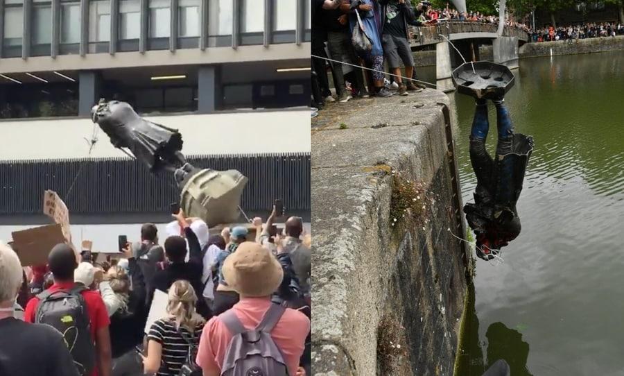 Statue d edward colson deboulonnee