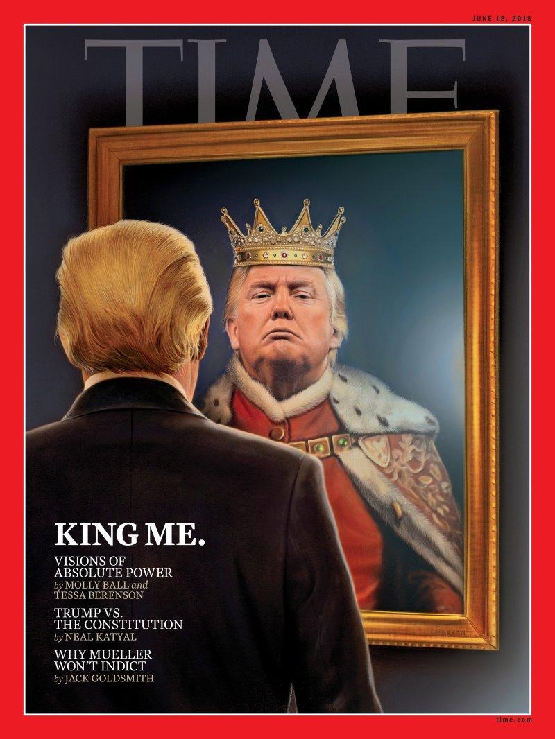 Couverture du Times . Donals Trump rêvant d'être roi