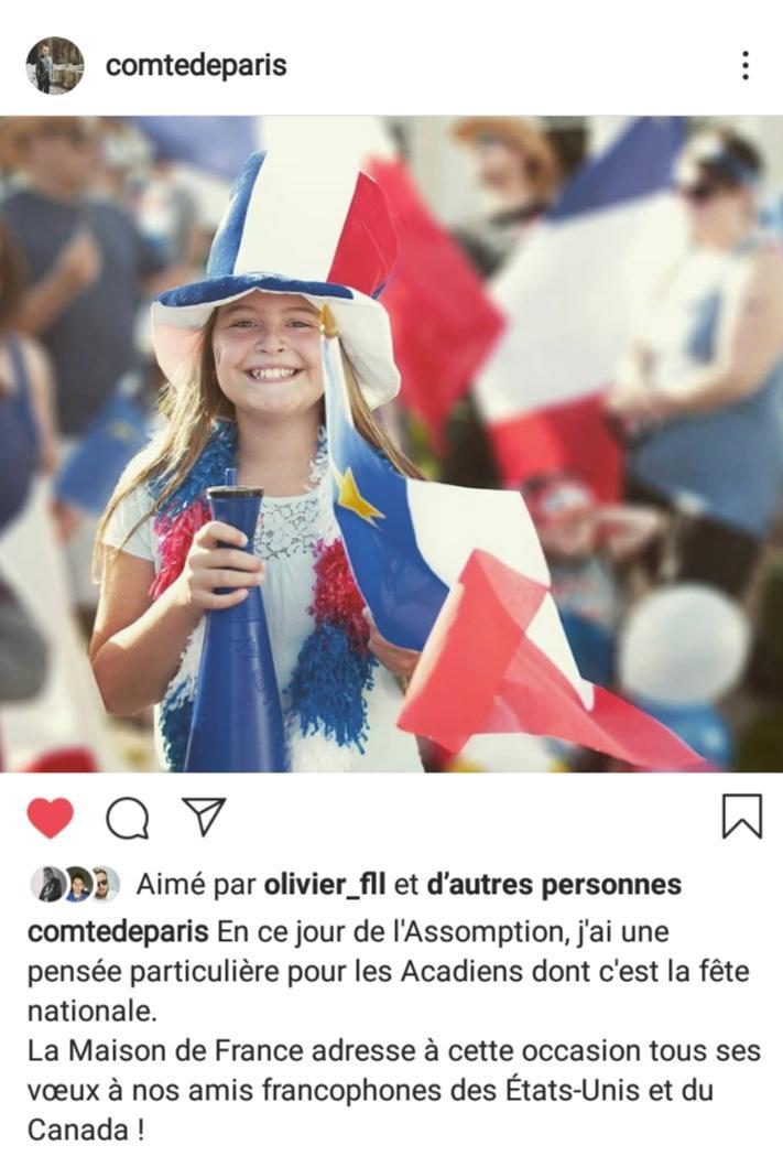 Tweet du comte de paris pour la fete nationale de l acadie