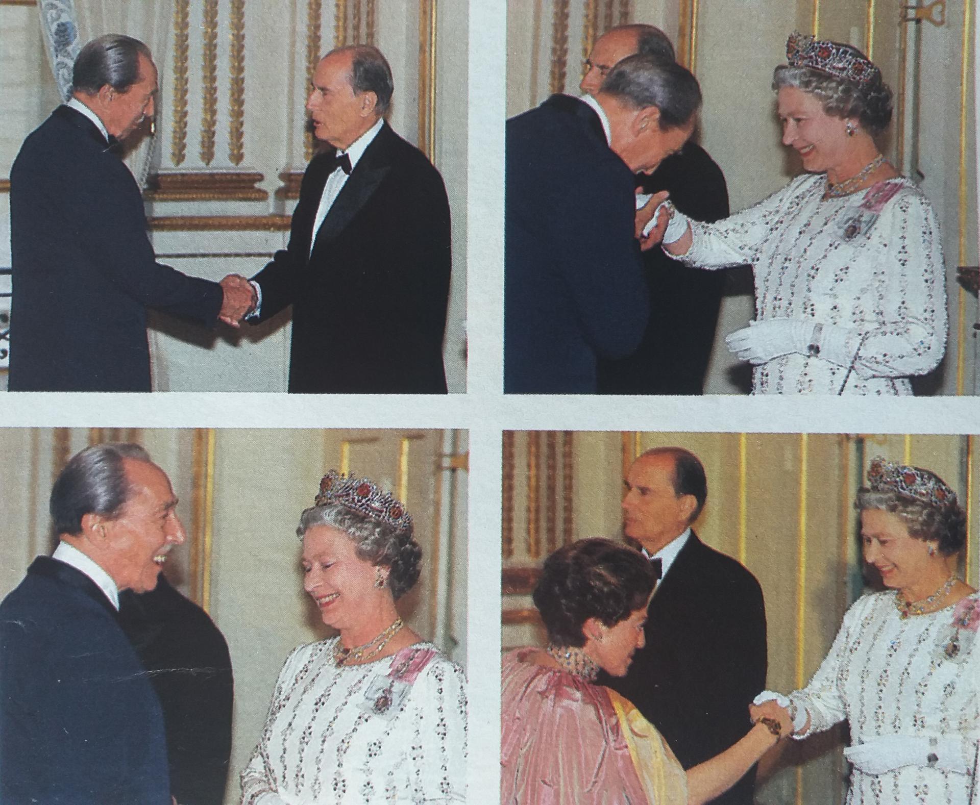 Le prince Henri d'Orléans la princesse Chantal et la reine Elizabeth II, le président Mitterrand @Point de vue Images du Monde