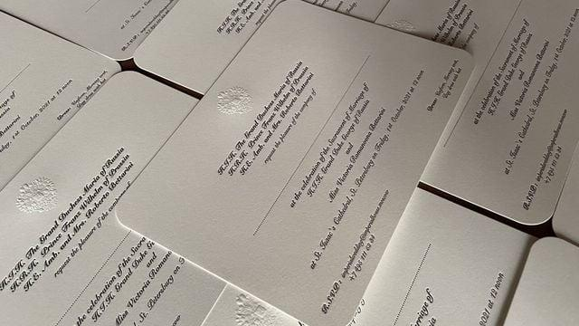 Carton d'invitation au mariage impérial