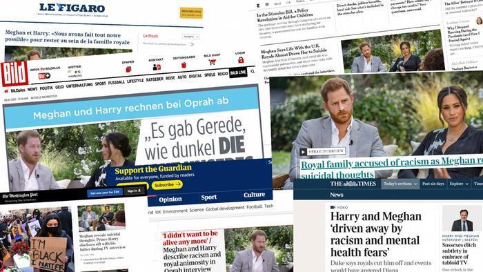 Extraits article de journaux sur l'interview de Harry et Meghan Markle . Photo Die Welt