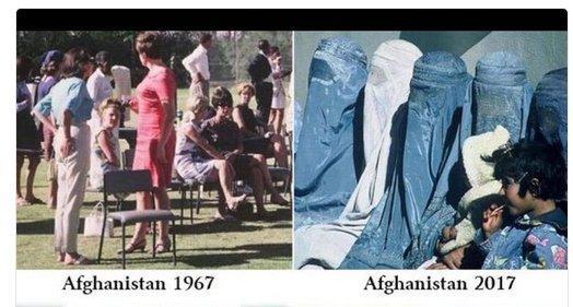 Sort des femmes afghanes avant et après .