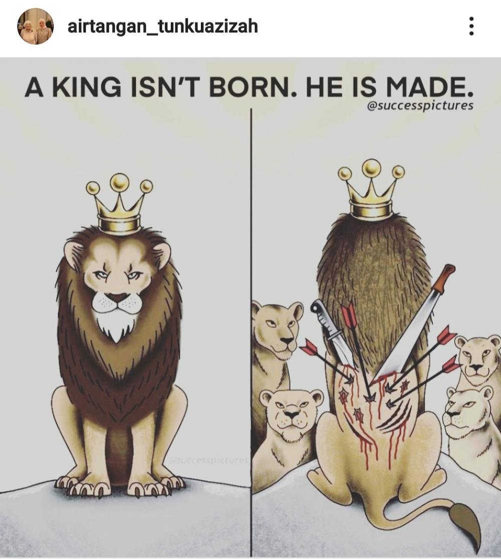 Caricature du lion postee par la reine