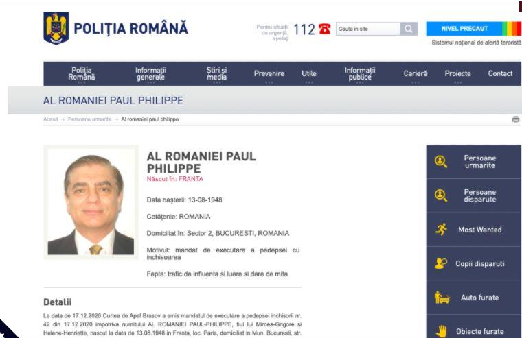 Fiche interpol delivree contre paul de roumanie