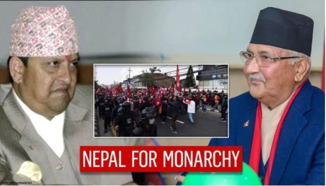 Gyanendra shah gauche le premier ministre oli droite Photomontage My Republic