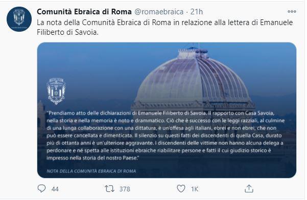 La communauté juive de Rome refuse le pardon du prince de Venise