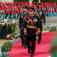 Le roi Abdallah II et son fils Hussein au mémorial des Martyrs