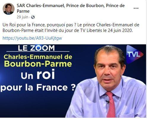 Intervention du prince charles emmanuel de bourbon parme sur tv libertes