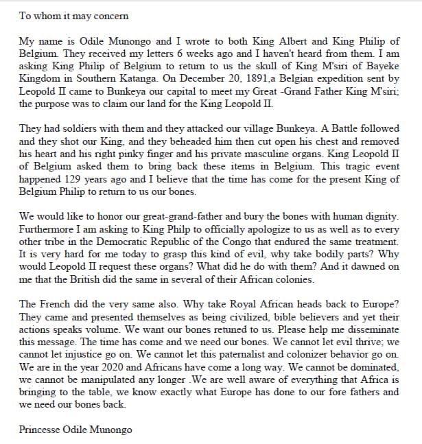 La lettre de la princesse odile munongo