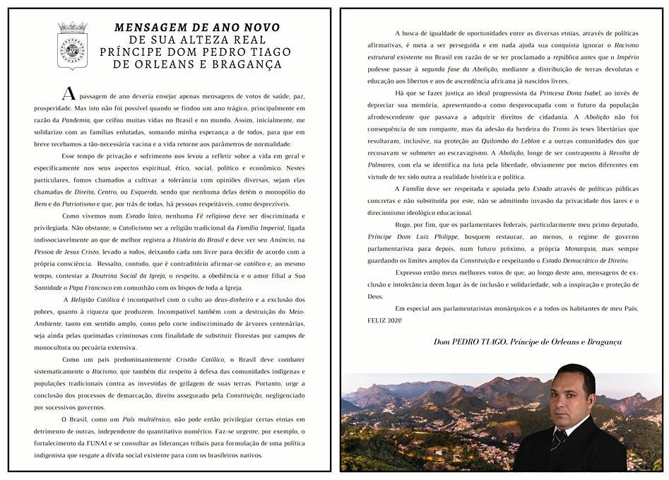 Message du prince pedro tiago d orleans bragance