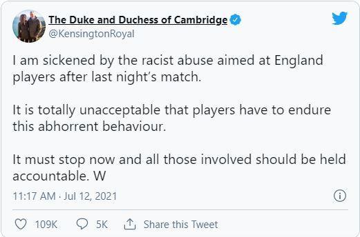 Message du prince william contre le racisme dans le football