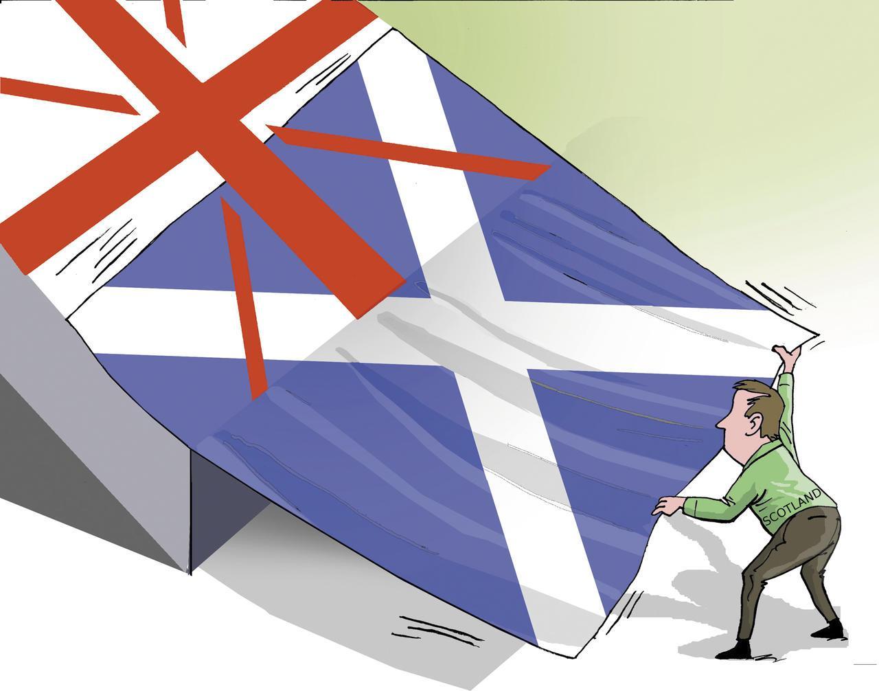 Retrait du drapeau écossais de l'Union Jack. Dessin d'Arcadio paru dans la Prensa Libre, Costa Rica