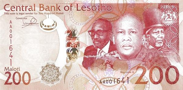 Billet de banque sotho avec le portrait des rois du Lesotho