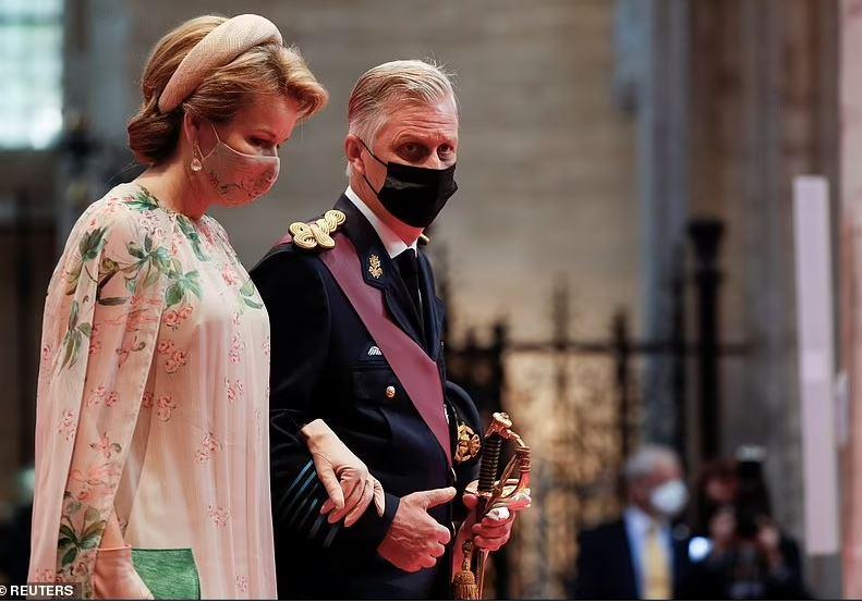 Reine Mathilde et roi Philippe à la Cathédrale de Sainte-Gudule