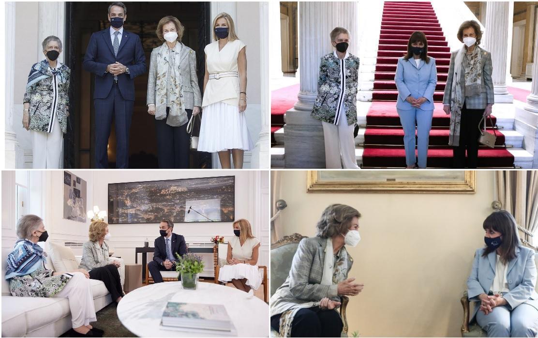 Sofia de grece recue par le premier ministre et la presidente grecque